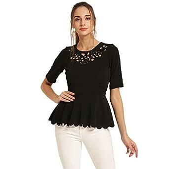 Harpa Women's Plain Regular Fit Top (GR5696-BLACK_Black_Small)