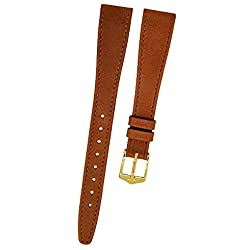 Orig. Fortis Brown Single Pin Buckle Leather Watch Strap Gold 14 mm 9119