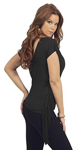 Femmes Top avec devant V-cou et le dos manches Boho Laser Cut frange Noir
