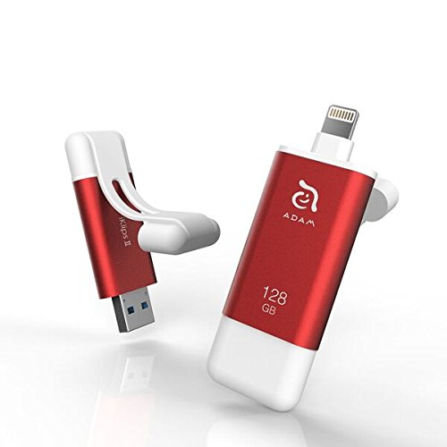 ADAM ADRAD128KLPIIRD Elements iKlips II Flash Drive für Apple iPhone/iPad 128GB rot