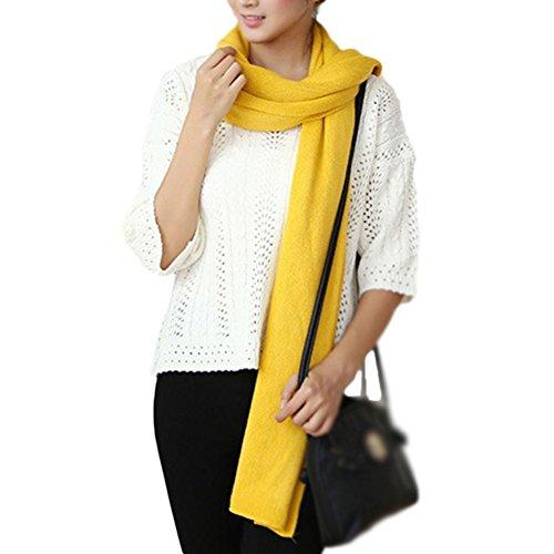 Emorias 1 Pcs Gewebter Schal Damen Farbe Fest Wolle Warm Halstuch für Langen Hals Tschal - Gelb