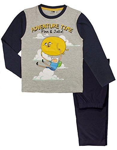 Adventure Time - Pigiama 2 pz Maglia Maniche Lunghe e Pantalone - Finn & Jake - Bambino - 100% Cotone - Prodotto Originale AT5204010 [Grigio - 152 cm]