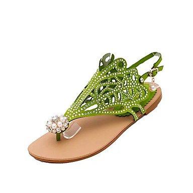 LvYuan Da donna-Sandali-Ufficio e lavoro Formale-Comoda Club Shoes-Piatto-PU (Poliuretano)-Nero Viola Verde scuro Dark Green