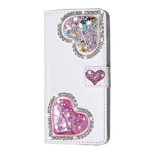 WANYINGLIN 3D Love Hearts Bling Glitter Glitzer Diamond Musterg Ledertasche Slim Retro Bookstyle Standfunktion Karteneinschub Magnetverschluss Flip Wallet Hülle Schutzhülle für Huawei Mate 20 Lite Pink Hearts Bling