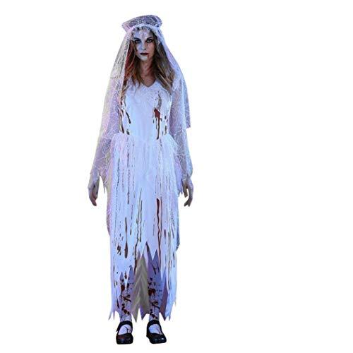 Qiusa Sexy weißes Corpse-Braut-Kleid der Erwachsenen Frauen mit Kopfbedeckung-Damen-Halloween Cosplay Party-Kostüm (Farbe : Weiß, Größe : XL)