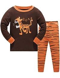 HIKIDS Pijama Dinosaurio Niño 100% Algodón Pijamas para Niños Gris Dinosaurio ...