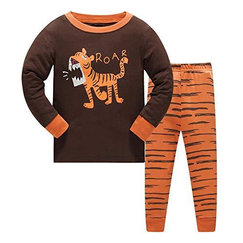 Jungen Schlafanzug Jungen Tiger Roar Langarm Zweiteiliger Schlafanzug Kinder Herbst Winter Bekleidung Nachtwäsche Pyjama Set 122