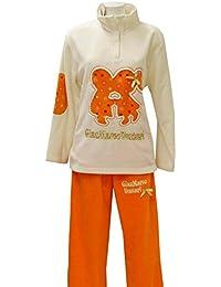 Pijama de invierno para mujer de forro polar estampado crema M
