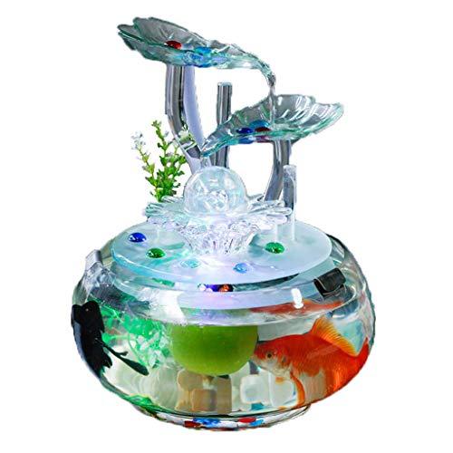 """Réservoir de poissons créatif de bureau, eau écologique en verre transparent rond orne l'air humidifié d'aquarium 12,6""""de hauteur (taille : 25 * 25 * 32cm)"""