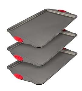 Backblech-Set antihaftbeschichtet, 3-teilig von Boxiki Kitchen | Gewerbliche Antihaft-Backbleche | Keksbackformen mit Silikonhandgriffen