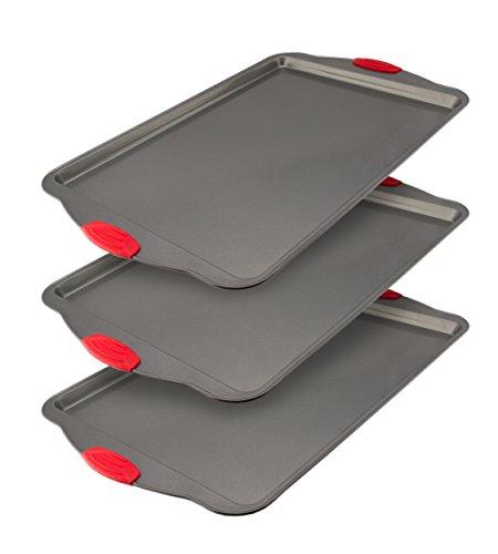 Set di teglie da forno antiaderenti, 3-pezzi by boxiki kitchen | teglie per forni commerciali in acciaio antiaderente| stampi da forno per biscotti con manici in silicone