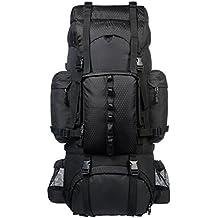 AmazonBasics - Zaino da escursionismo con telaio interno e cerniera antipioggia, 65 L, Nero