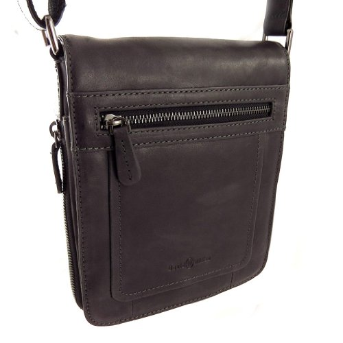 Francinel [L0990] - Sac cuir 'David William' noir vintage