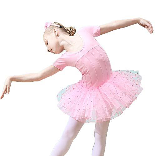 Ballettanzug Mädchen Ballett Tütü Kinder Ballettk Mädchen Kurzarm Tanz Ballett Kleid Bowknot Tupfen Rüschen Tüll Tutu Röckchen Trikot Dancewear Kostüme Kids Princess Skating Performance Gymnastik Trik