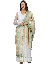 The Weave Traveller Handloom Hand Block Printed With Hand Woven Border Khadi Cotton Dupatta For Women's/Girl's