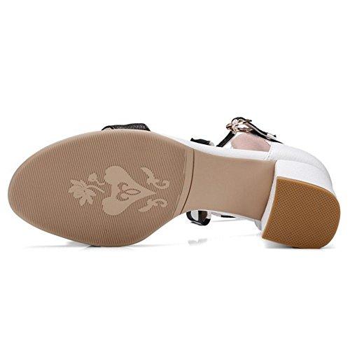 COOLCEPT Damen Mode Knochelriemchen Sandalen Blockabsatz Open Toe Schuhe Mit Bogen Gr White