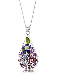 Sterling Silver Real Flower Pendant Necklace - Forget-Me-Not purple & blue - - 18