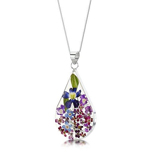 Shrieking Violet: Kettenanhänger - blaue & lila Vergissmeinnicht - Tropfen - 925 Sterling Silber - 45 cm Kette (Blume Ringe Harz)