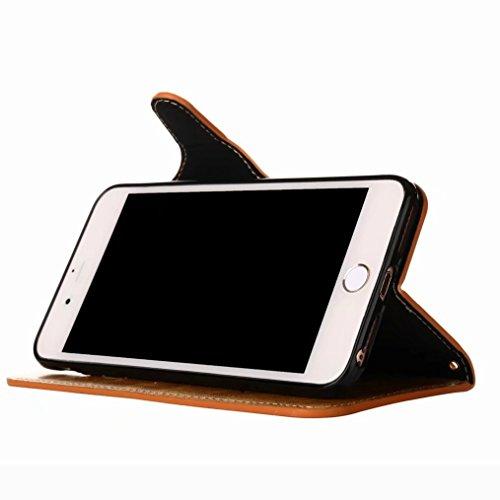 LEMORRY Apple iPhone 7 Plus Custodia Pelle Portafoglio Guardare-Supporto Morbido interno TPU Silicone Bumper Protettivo Magnetico Slot per schede Cuoio Borsa Flip Cover per iPhone 7 Plus con Polso Cin Coral Brown