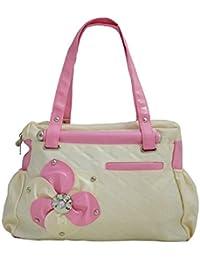 Typify Casual Shoulder Bag Pink & Cream Zip Closure Women & Girl's Handbag
