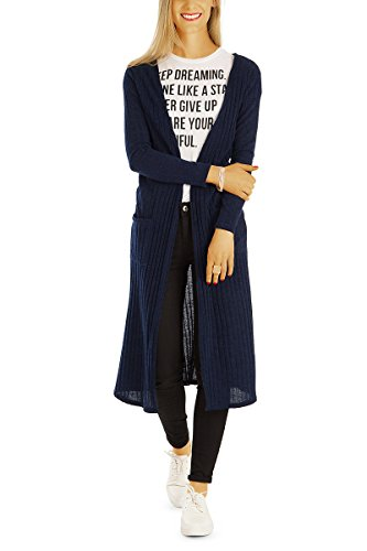 Bestyledberlin Damen Cardigan, Lange Jacken, Maxi Strickjacken t63z dunkelblau (V-neck Top Low-cut-tiefer)