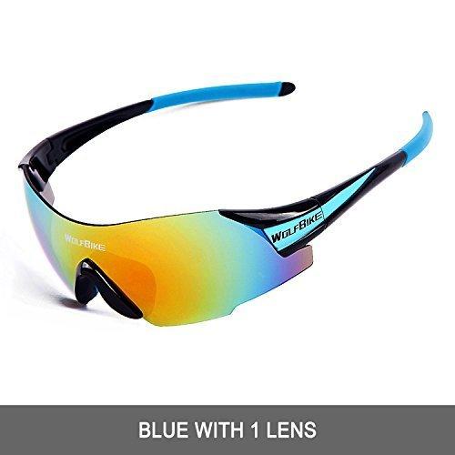 WOLFBIKE Polarisiert Sport Radfahren Sonnenbrille mit 5Set Wechselobjektive, Herren Damen, New Black Blue