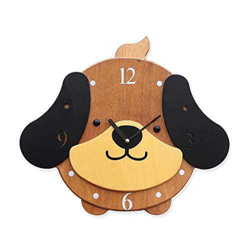 Gaoli orologio da parete camera da letto di legno del fumetto 3d stereo carino personalizzato hanging orologio -brown-
