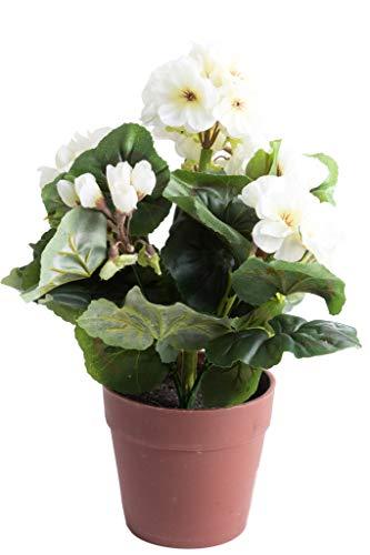 künstlicher Geranienbusch mit 6 Stielen und 6 Blütenköpfen in braunem Kunststofftopf