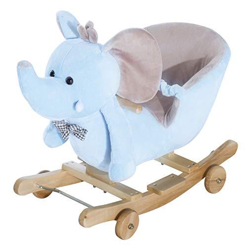 Homcom Cheval à Bascule Jouet à Bascule éléphant et Porteur sur roulettes 2 en 1 Fonction...