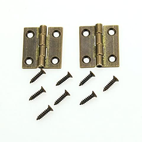 Hinges and Screws, Heavy Duty Vintage Solid Brass Hinges, Antique Hinge Connectors for Door Kitchen Cabinet Gate Toy Box Wardrobe Decorative Replacement, 4 Pack, Bronze, Mini 25 x 22mm