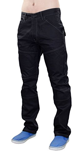 New Men Designer Crosshatch Revêtue Denim Regular Fit Straight Leg Jeans Trouser Black Coated