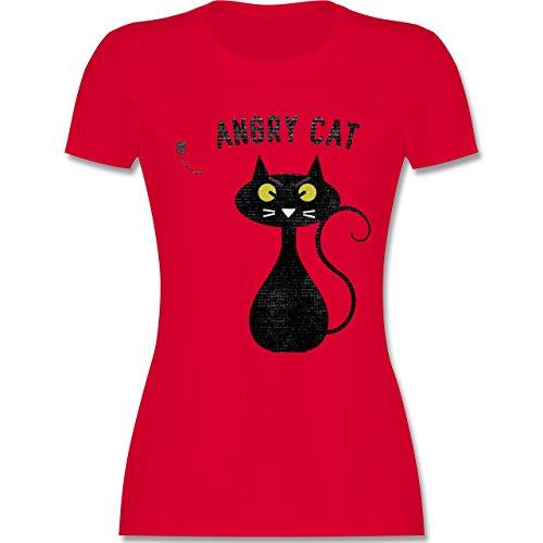 Nerds & Geeks - Angry Cat - Nerdy Cats - tailliertes Premium T-Shirt mit Rundhalsausschnitt für Damen Rot
