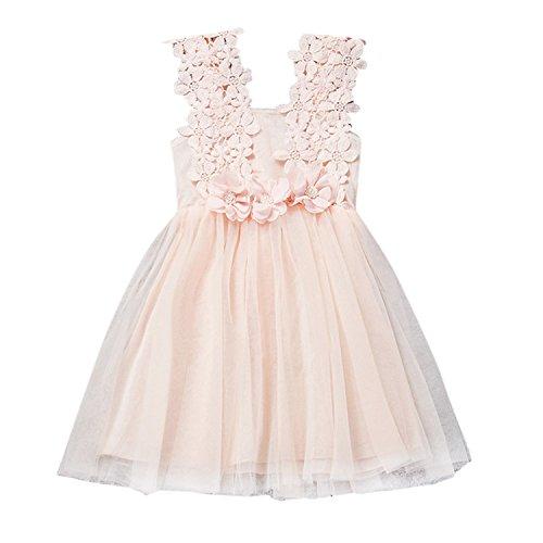 (YASSON Baby Mädchen Kleid Spitzen Blumen Perlen Kügelchen Prinzessin Party Festlich Mädchenkleid Kindergröße 80-120)