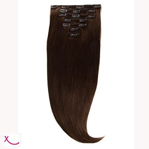 Extiff - Extensions cheveux naturel à clip - 50cm 160gr - (2 - Marron Glacé)