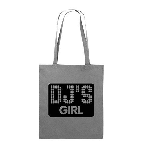 Comedy Bags - DJ'S GIRL - NEGATIV PUNKTE - Jutebeutel - lange Henkel - 38x42cm - Farbe: Schwarz / Silber Dunkelgrau / Schwarz