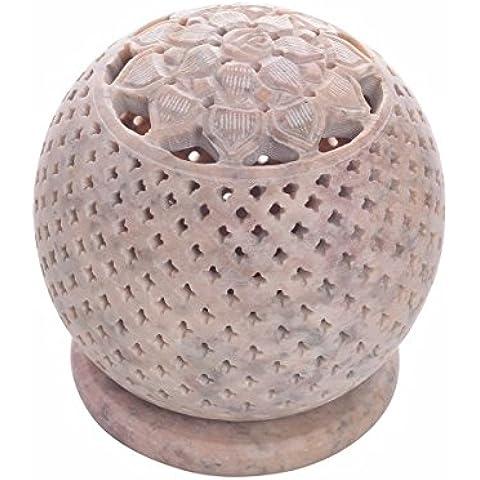 Store Indya, Te luz en forma de ovalo natural de esteatita vela votiva del sostenedor del quemador de incienso