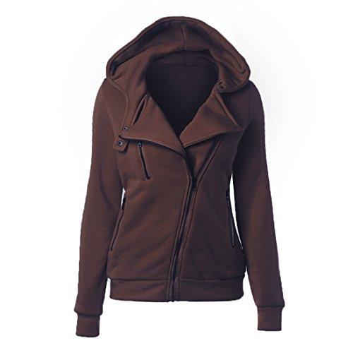 Vertvie Damen Jacke Kapuzenpullover Sweatshirt Hoodie Mantel mit Seitenreißverschluss Kaffee