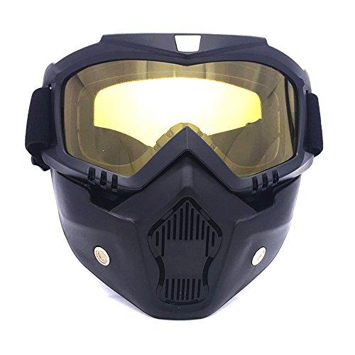 Preisvergleich Produktbild HCMAX Motorrad Brille Mit Abnehmbarer Gesichtsmaske Harley Stil Helm Nebelfest Winddicht Reiten Sonnenbrille Valentinstag Geschenk