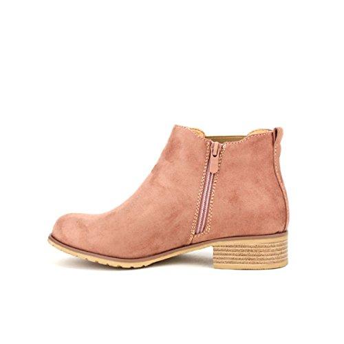 Cendriyon Bottine Simili Peau Rose Sixths Chaussures Femme Rose