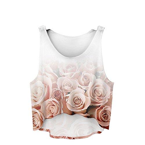 Filles veste pour femme Haut T-shirt d'été sans manches pour femme Casual pour Femme Imprimé Coussin UK 6/8/10 Roses Ombre