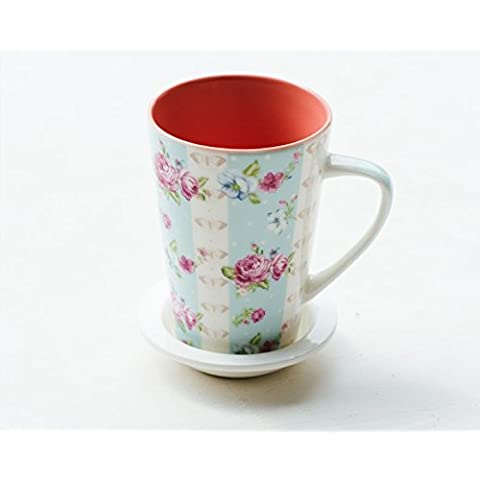 YX.LLA Amor Rosas Continental Punto de onda elegantes tazas de cerámica envasar leche taza de café,Tapered Blue Rose+cuchara de acero inoxidable
