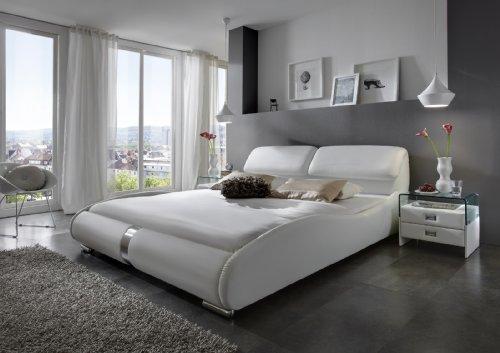 XXS® Lucca Polsterbett 180 x 200 cm in der Farbe weiß, Bett mit gepolstertem Kopfteil und pflegeleichter Oberfläche in geschwungener Optik, stilvolle Chromfüße, auch als Wasserbett verwendbar
