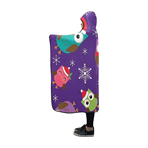 YSJXIM Mit Kapuze Decke Weihnachten süße Eulen Decke 60 x 50 Zoll Comfotable Mit Kapuze Throw Wrap