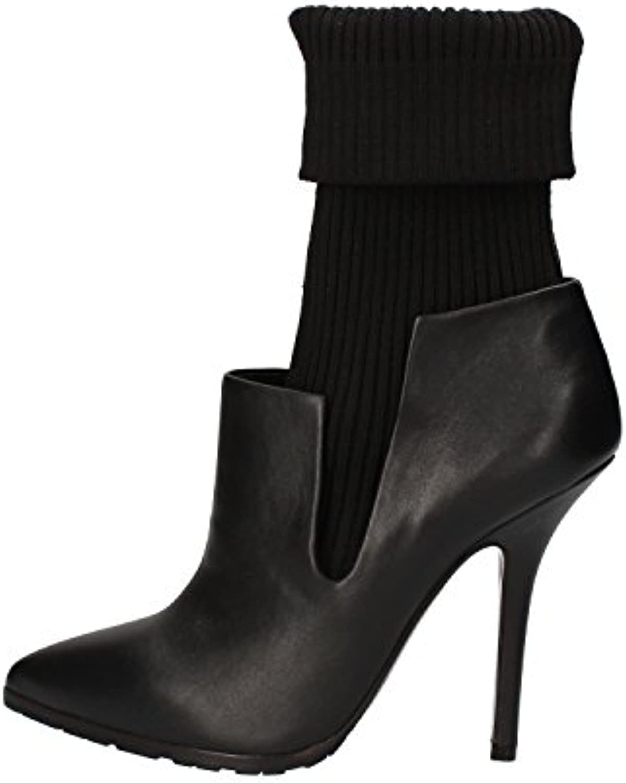 Grey MER Botas Mujer Negro Cuero Textil AE498 (38 EU)