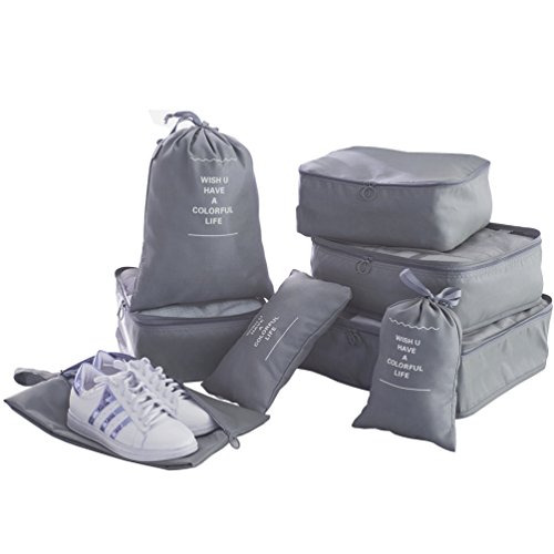 Packing Cubes for Travel - 8 Sets Luggage Organiser Storage Bags Suitcase Compression Pouches (Grey)