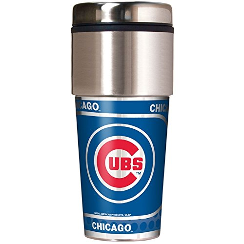 Great American 16 oz Reisen Tumbler mit Metallic Wrap, Mädchen Damen Jungen Unisex-Erwachsene Herren, Chicago Cubs Great American Products Tumbler