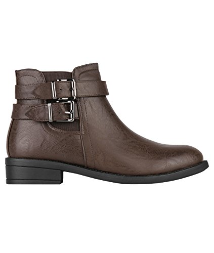 5586-BRN-7: Buckle Strap Chelsea Boots (Braun, Gr.40) (Boots Buckle)
