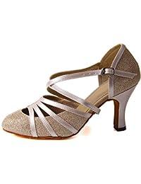Syrads Zapatos de Baile Latino para Mujer Danza de Tango Samba Vals de Salón Sandalia de