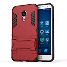Bllosem Meizu MX5 Case Hybrid Dual Layer PC+TPU Full Body Shock Resistant Armour with Kickstand Function Case for Meizu MX5 Red