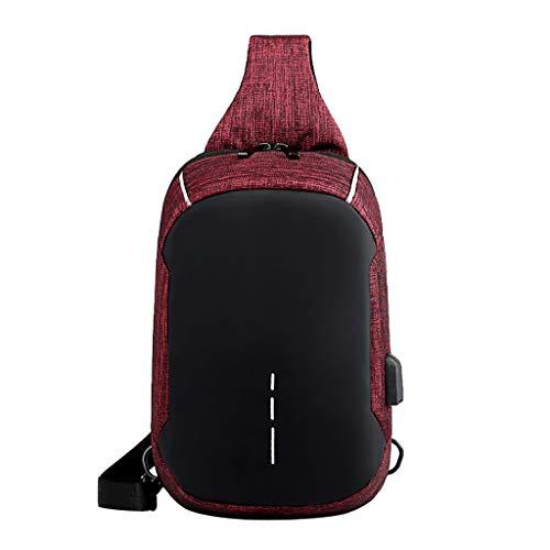 TTLOVE Anti-Diebstahl Brusttasche Multifunktional Rucksack Schultertasche, Oxford Crossbody Umhängetasche Sporttasche Kompatibel Herren Damen Mädchen Jungen Reise Daypack mit USB-Port(Wein)